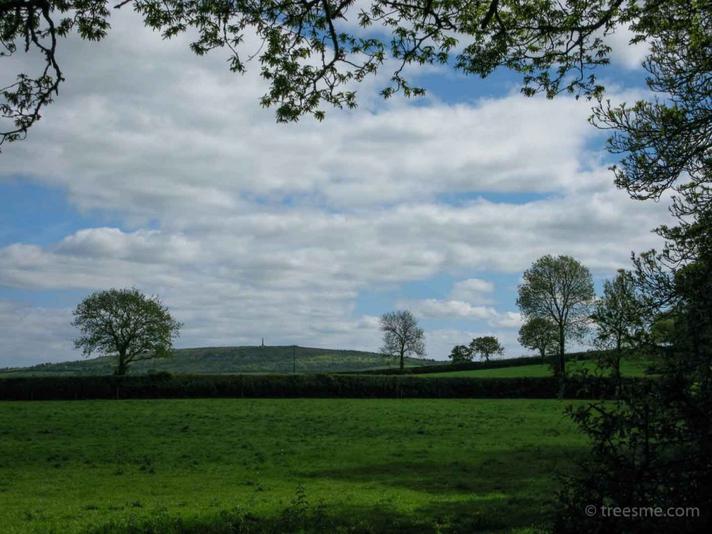Across the green fields towards Kit Hill in Cornwall England. One of the five Marilyn hills
