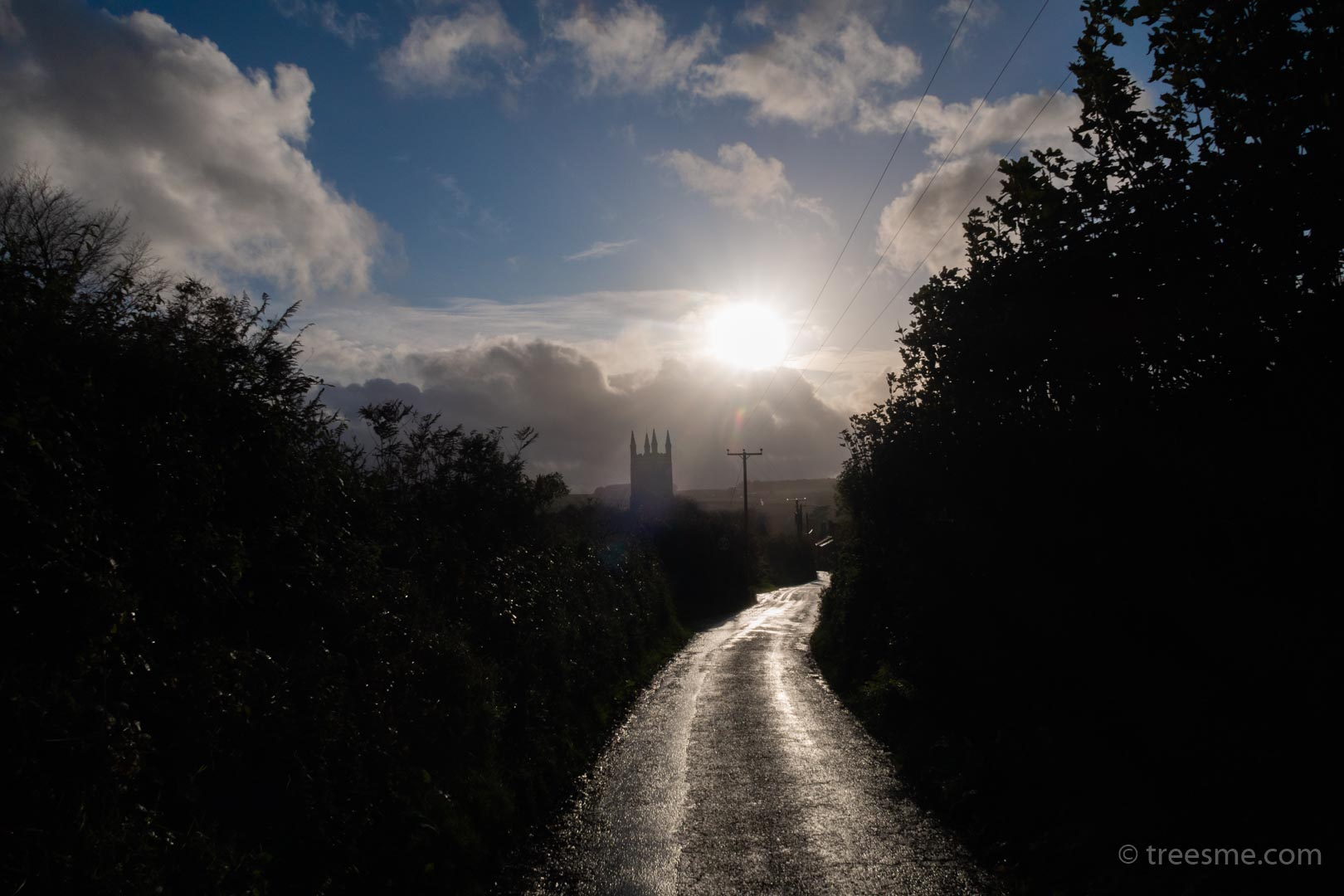 Autumn (October) – The Evening Sun, Clouds, Wind and Rain Over Stoke Climsland Church